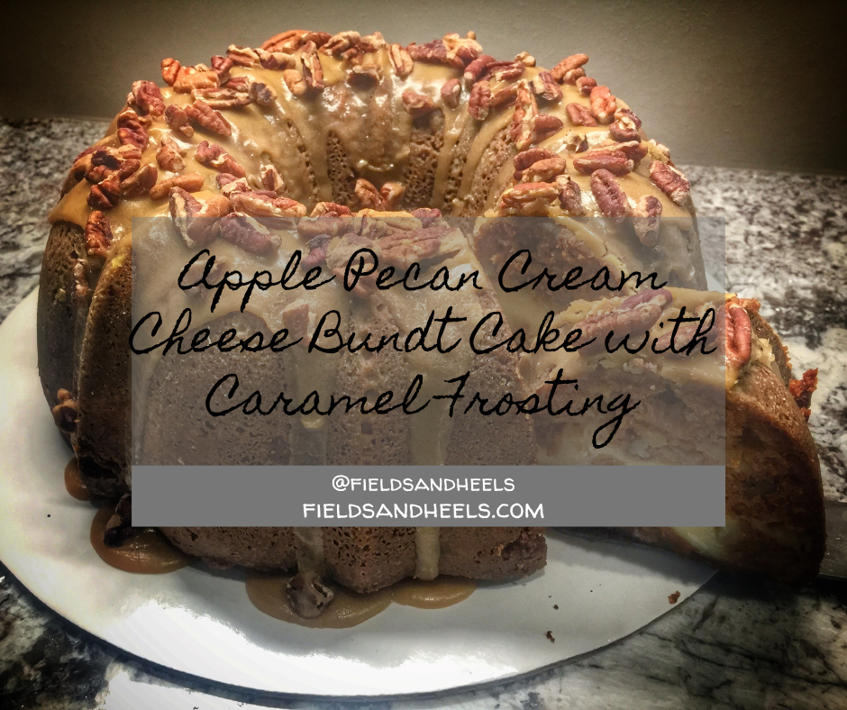 Apple Pecan Cream Cheese Bundt Cake with Caramel Frosting